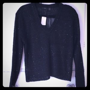NWT RDI Knit Sweater with Sequin & Sheer Back. SzM